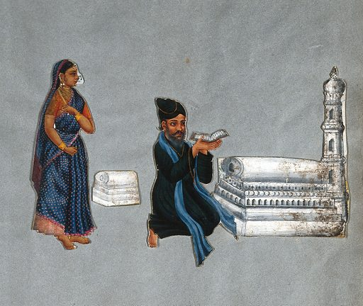 An Indian Muslim priest; left, his wife. Gouache painting. He is reading a book, presumably the Koran. Right, a monument with a tower (mosque?). Created 1815?. Muslims. Imams (Mosque officers). Mosques. India. Work ID: tzurmu6f.