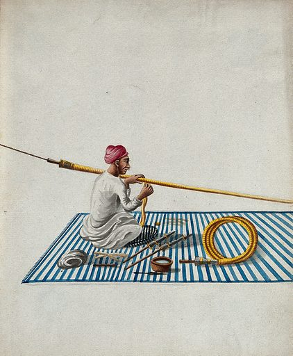 A man sitting on a carpet making hookah pipes. Gouache painting by an Indian artist. Created between 1800 and 1899?. Work ID: gc6472c8.