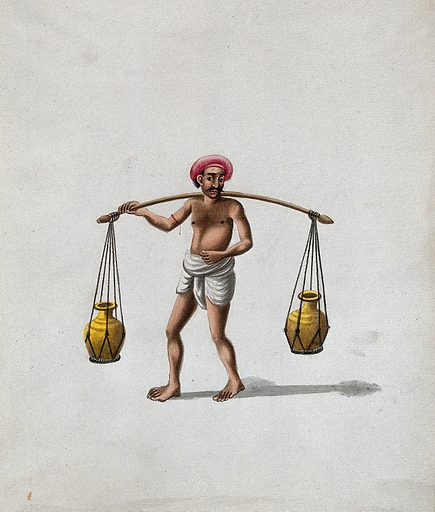 A man carrying a wooden pole (yoke) with pots suspended on either ends. Gouache painting by an Indian artist. Created between 1800 and 1899?. Work ID: ykajndh9.