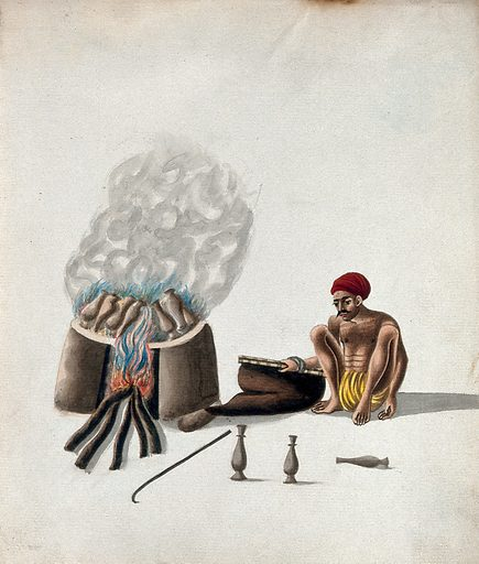 A man firing pots in a wood smoked oven. Gouache painting by an Indian artist. Created between 1800 and 1899?. Work ID: wkb8uykf.