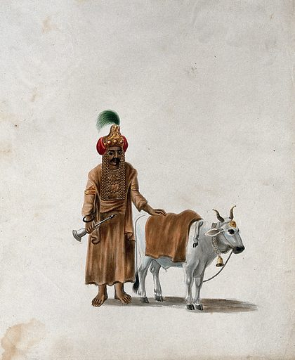 A man wearing a headgear with an image of a deity (?), standing with his cow. Gouache painting by an Indian artist. Created between 1800 and 1899?. Work ID: a6y7fy89.