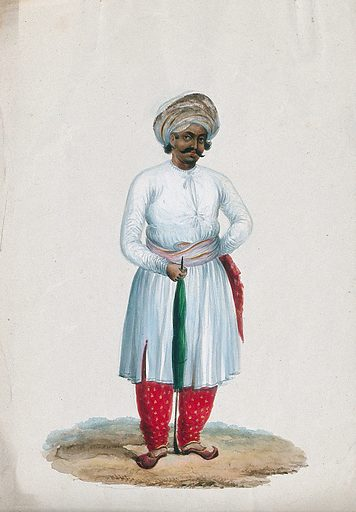 An attendant holding a umbrella. Gouache painting by an Indian artist. Created between 1800 and 1899?. Work ID: p69fhezf.