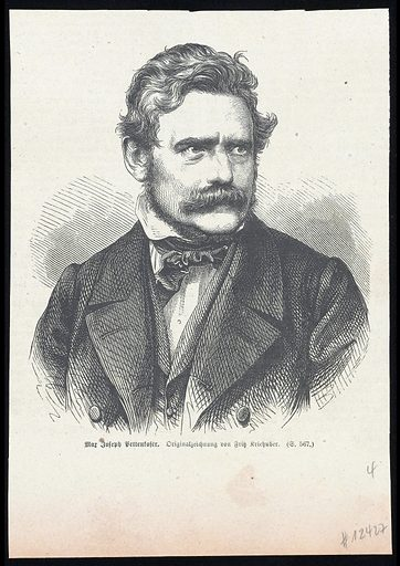 Max Joseph von Pettenkofer. Wood engraving, 18 –, after J Kriehuber. Created between 1800 and 1899. Suicide victims. Max von Pettenkofer (1818–1901). Contributors: Josef Kriehuber (1800–1876). Work ID: h8dj9v7d.