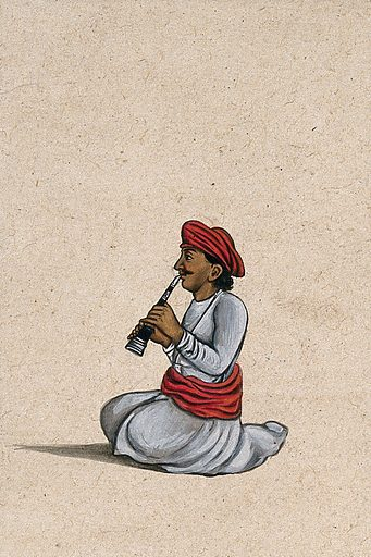An Indian musician playing the shehnai. Gouache painting by an Indian artist. Created between 1800 and 1899?. Work ID: ygsu4zv8.
