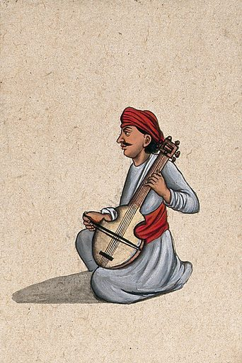 A musician playing an Indian stringed instrument, similar to the sarangi. Gouache painting by an Indian artist. Created between 1800 and 1899?. Work ID: pakkzkrz.