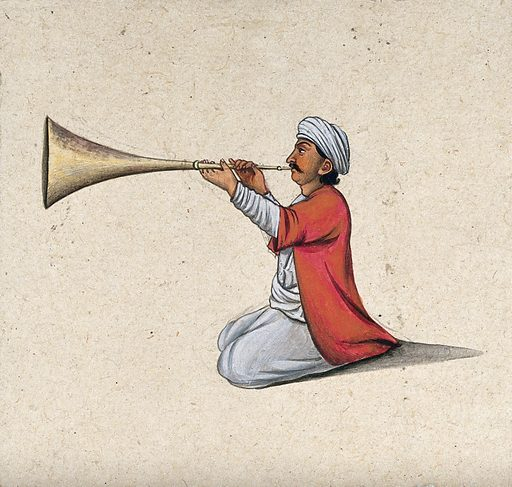 An Indian musician playing a brass wind instrument. Gouache painting by an Indian artist. Created between 1800 and 1899?. Work ID: f4tcpv8r.