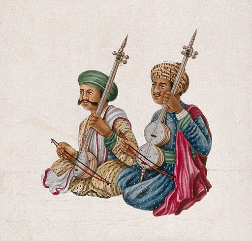 A pair of musicians playing Indian stringed instruments, with bows. Gouache painting by an Indian artist. Created between 1800 and 1899?. Work ID: y3gt38ek.