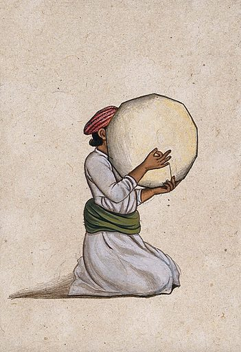 An Indian musician playing a tambourine without jingles. Gouache painting by an Indian artist. Created between 1800 and 1899?. Work ID: yzwcsq7p.