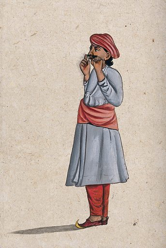An Indian musician playing a nose flute. Gouache painting by an Indian artist. Created between 1800 and 1899?. Work ID: dr98ybxk.