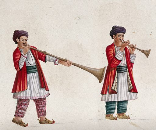 Two musicians playing the shehnai (?), an Indian wind instrument. Gouache painting by an Indian artist. Created between 1800 and 1899?. Work ID: fkrfng3u.