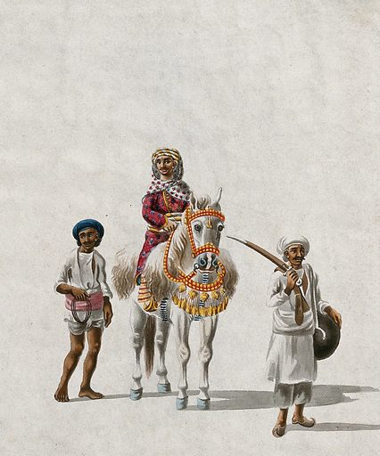 A jamindar (land owner) riding a horse accompanied by a guard and an attendant. Gouache painting by an Indian artist. Created between 1800 and 1899?. Work ID: sp88vxej.