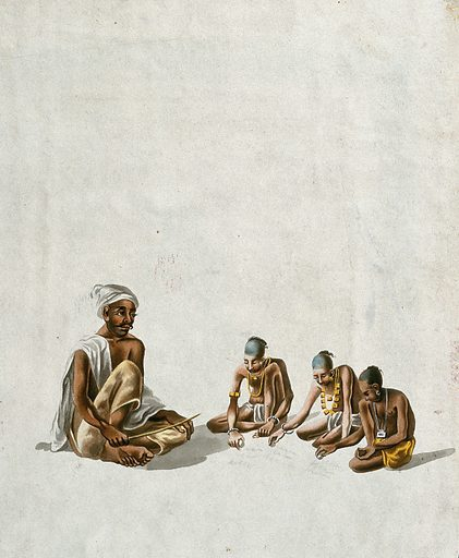 A village school; a teacher giving lessons to three children. Gouache painting by an Indian artist. Created between 1800 and 1899?. Work ID: gyupgtvg.