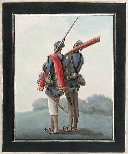 Two sepoys (native soldiers) holding rifles and swords. Gouache painting by an Indian artist. Created between 1800 and 1899?. Work ID: b3hcgsby.