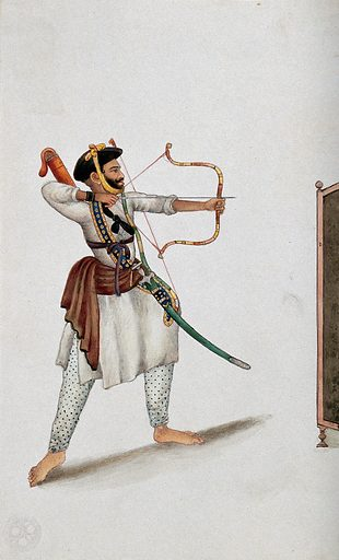 A man shooting an arrow. Watercolour by an Indian painter. Created between 1800 and 1899?. Work ID: axrvbrrx.
