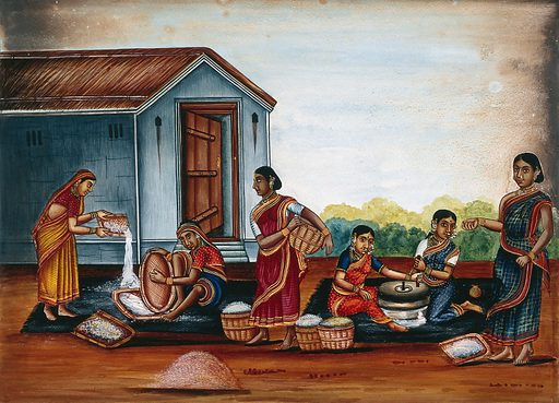 Women grinding and sieving grain into flour. Watercolour by an Indian artist. Created between 1800 and 1899?. Work ID: vt8b95h3.