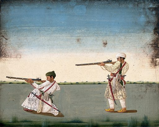 Two Indian soldiers (?) take aim and fire their rifles. Watercolour by an Indian artist. Created between 1800 and 1899?. Work ID: kbhrzr3p.
