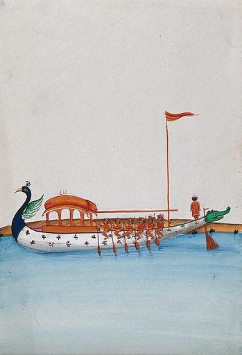 Six men row a long boat with a domed canopy, shaped as a peacock in the front and a dragon's mouth at the back. Watercolour by an Indian artist. Created between 1800 and 1899?. Work ID: q3h8k8ub.