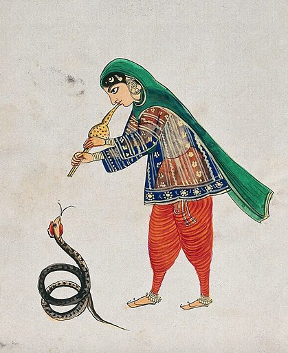 A female snake charmer plays the flute to rouse the snake. Gouache painting by an Indian artist. Created between 1800 and 1899?. Work ID: t3k6zsh6.