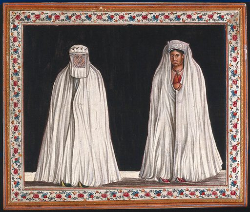 Two Muslim women wearing white burkas, one with her face covered with a veil. Gouache painting by an Indian artist. Created between 1800 and 1899?. Burqas (Islamic clothing). Work ID: s84tr3tv.