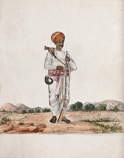 A man in the desert carrying a rifle in one hand and a water pouch over his shoulder. Gouache painting by an Indian artist. Created between 1800 and 1899?. Work ID: r3rrcwks.