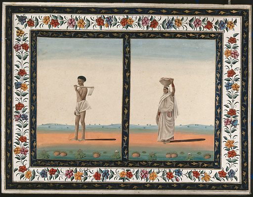 Left, a male labourer holding a spade over his shoulder; right, a female labourer carrying a basket of stones on her head. Gouache painting by an Indian artist. Created between 1800 and 1899?. Work ID: jhj8dfvp.