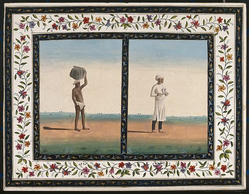 Left, a labourer carries a heavy load on his head; right, an attendant or bearer carries a tray. Gouache painting by an Indian artist. Created between 1800 and 1899?. Work ID: dxqxynsq.