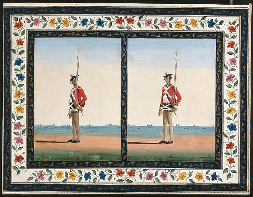 Two sepoys (soldiers) in British uniform. Gouache painting by an Indian artist. Created between 1800 and 1899?. Work ID: x5g9vqx4.