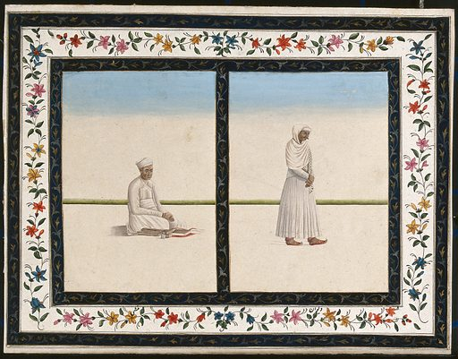 Left, a calligrapher; right, a man wearing traditional clothes from Lucknow. Gouache painting by an Indian artist. Created between 1800 and 1899?. Work ID: anww6b36.
