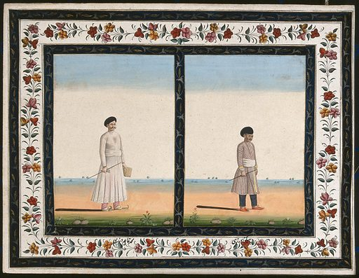 Two cloth-sellers (?), each carrying a stick and a pair of scissors. Gouache painting by an Indian artist. Created between 1800 and 1899?. Work ID: tjth2npr.