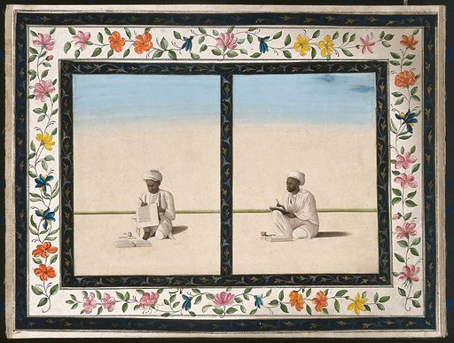 Two scribes copying manuscripts or official letters. Gouache painting by an Indian artist. Created between 1800 and 1899?. Work ID: rzwj8kbn.