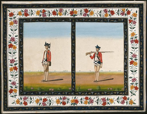 Two sepoys in British uniform: (left) standing to attention, (right) shouldering arms. Gouache painting by an Indian artist. Created between 1800 and 1899?. Work ID: k53jewu7.
