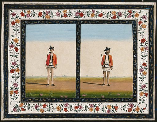 Two sepoys, holding swords. Gouache painting by an Indian artist. Created between 1800 and 1899?. Work ID: nufw7c6v.