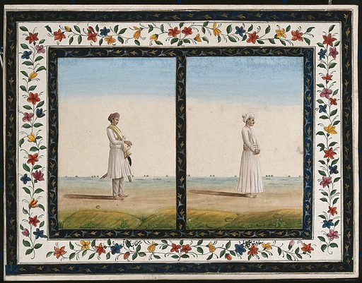 Two Indian men in profile to right: (left) a man with a sword and (right) a man standing. Gouache painting by an Indian artist. Created between 1800 and 1899?. Work ID: tcsdrp45.