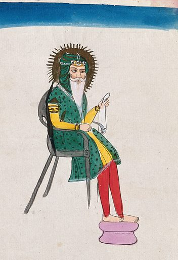A Sikh man with a halo sitting on a chair. Gouache painting by an Indian painter. Created between 1800 and 1899?. Work ID: gcgdvjsf.