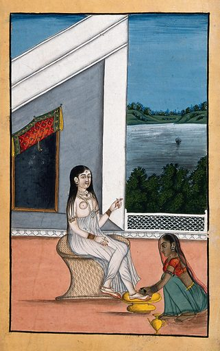 A servant attending to an Indian lady's feet. Gouache painting by an Indian painter. could be applying mehndi (henna) to the feet which when applied is green and then dries to give the red colour. Created between 1800 and 1899?. Work ID: ydzk5ekr.