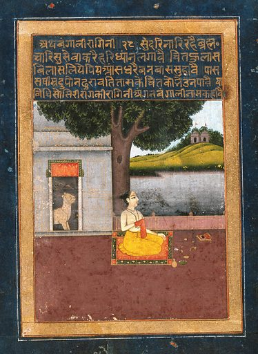 A man sitting down for his prayers. Gouache painting by an Indian painter. Probably provincial Mughal, form the Ragini series, Bangala Ragini. Created between 1800 and 1899?. Work ID: re3f64qx.