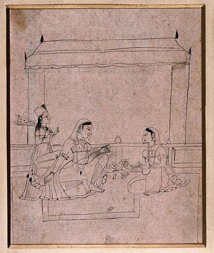 A lady sitting with two attendants. Drawing by an Indian artist. Created between 1800 and 1899?. Work ID: ya6p7p9h.