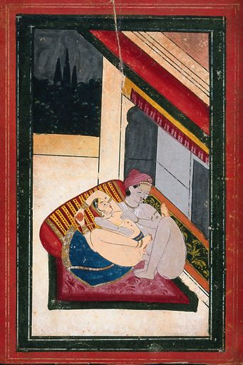 A couple engaged in sexual intercourse. Gouache painting by an Indian painter. Created between 1800 and 1899?. Work ID: t98udvjg.