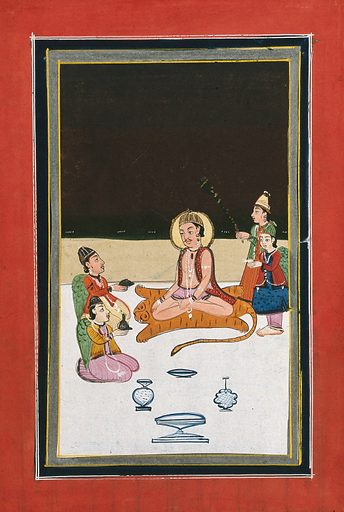 A man sitting on a tiger skin with four attendants, three with wings offering him various things. Gouache painting by an Indian painter. Created between 1800 and 1899?. Work ID: t5ccz2ms.
