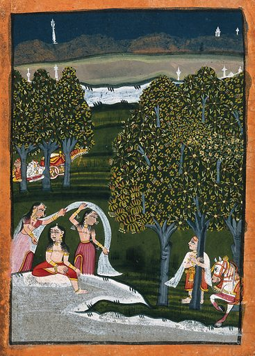 Three women in the garden being watched by a man standing next to the trees with his horse. Gouache painting by an Indian painter. Created between 1800 and 1899?. Work ID: g2cpby23.