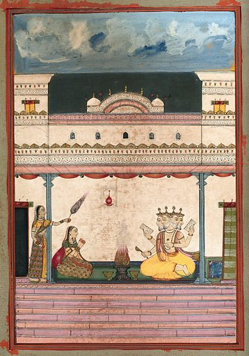 A woman with folded hands sitting in front of a four headed deity (?) performing a fire ceremony. Gouache painting by an Indian painter. Created between 1800 and 1899?. Work ID: xt636vdd.