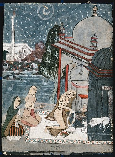 A woman putting a garland around the Shivling while the other two fold their hands to pray. Gouache painting by an Indian painter. Created between 1800 and 1899?. Work ID: uxzhbzxj.