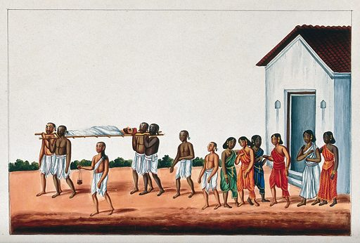 Four men carrying a dead man on a wooden stretcher for his cremation, watched by grieving women. Gouache painting by an Indian painter. The men carrying the dead body are probably Brahmins as indicated by the marks on their forehead and hair style. Created between 1800 and 1899?. Funeral rites and ceremonies. Work ID: vd3jxrwg.
