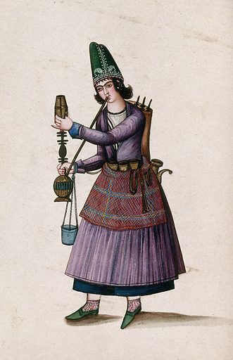A Turkish (?) woman smoking a hookah. Gouache painting by an Indian painter. Created between 1800 and 1899?. Work ID: qdqhzf3p.