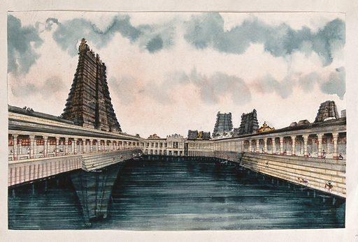 Madurai: the Golden Lotus tank, the temple tank at the Meenakshi – Sundareshwarar temple. Watercolour by an Indian painter. Created between 1800 and 1899?. Madurai (India). Work ID: wwb8xxxf.