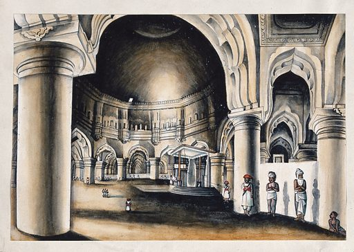 Interior of a palace converted into a Judge's court. Watercolour by an Indian painter. Created between 1800 and 1899?. Work ID: hgxz6pt8.