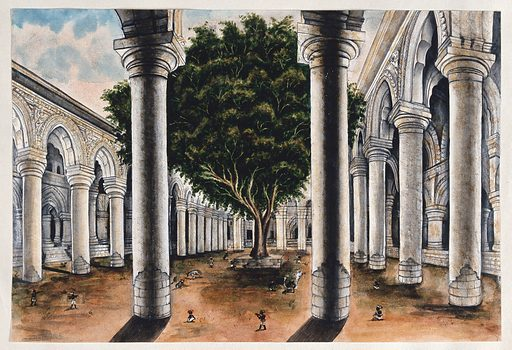 A large colonnade at Courtallum, Tamil Nadu. Watercolour by an Indian painter. Created between 1800 and 1899?. Kutralam (India). Work ID: cca8q7a9.