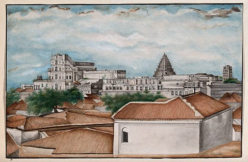 Tanjore: The royal palace. Watercolour by an Indian painter. Created between 1800 and 1899?. Thanjāvūr (India). Work ID: xvv7zf85.