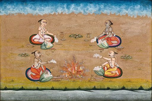 Four priests perform a yagna, a fire sacrifice, an old vedic ritual where offerings are made to the god of fire, Agni. Gouache painting by an Indian artist. Created between 1800 and 1899?. Work ID: k3maxm5e.