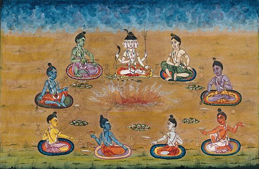 Trimurty, the three headed Shiva, sitting with eight other priests (?) perform a yagna, a fire sacrifice, an old vedic ritual where offerings are made to the god of fire, Agni. Gouache painting by an Indian artist. Created between 1800 and 1899?. Work ID: xdzadj8e.